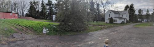 Panoramic view of the eventual driveway.